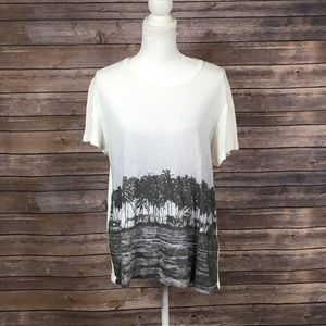 Madewell White Black Palm Trees Tee